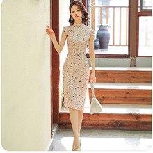 Розовая Женская атласная Повседневная одежда с цветочным принтом; платье с короткими рукавами и воротником-стойкой; винтажное платье на пуговицах; Qipao Vestidos; большие размеры 3XL