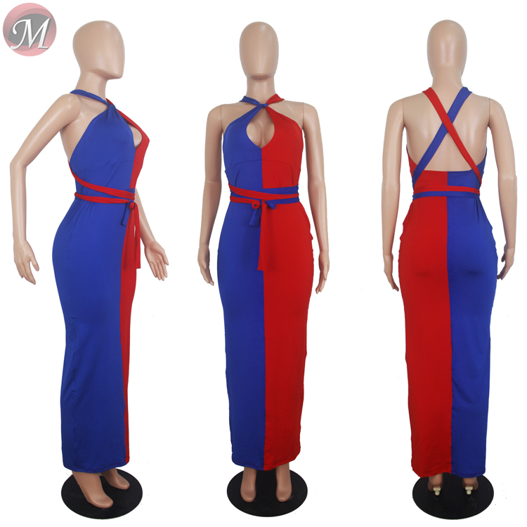 9071821 queenmoen hot sale summer two-color patchwork backless woman fashion clothing sexy maxi dress