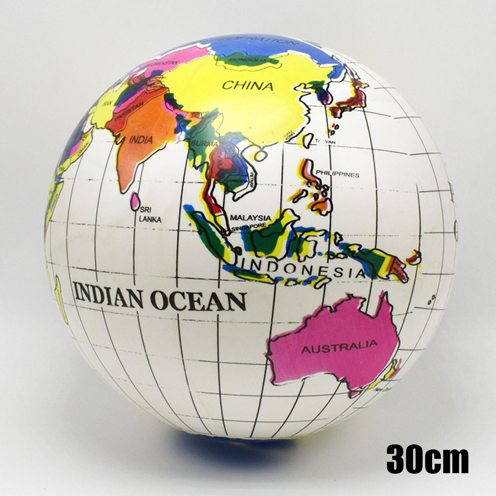 Deli 30cm Inflatable Globe World Earth Ocean Map Ball Geography Learning Educational Beach Ball Kids Toy Home Office Decoration
