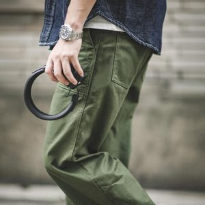 Image 5 - Maden Mens Green Army Pants Overalls Rectangular Straight Casual Pants Retro Vintage Men New Style Cotton