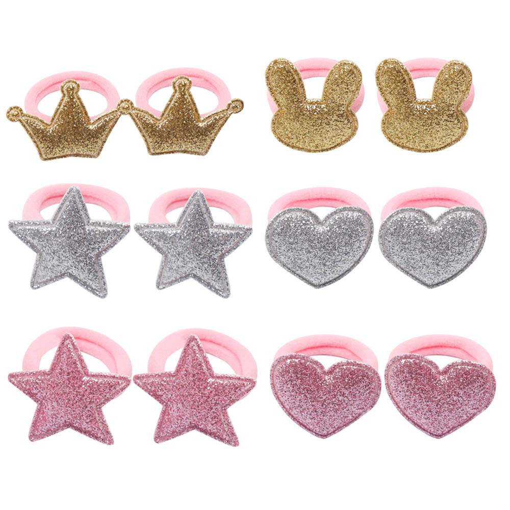 12 Pcs/set Shiny Glitter Elastic Hair Band Cartoon Star Hair Tie Kids Korean Hair Rope Crwon Kawaii Kids Rabbit Hair Accessories