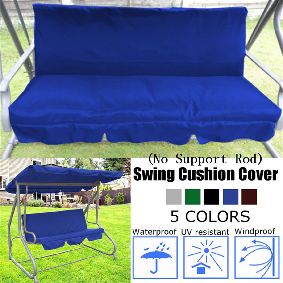 150CM 3 Seater Garden Swing Cushion 5 Colors Waterproof Dustproof Chair Replacement Canopy Spare Fabric Cover Dust Covers