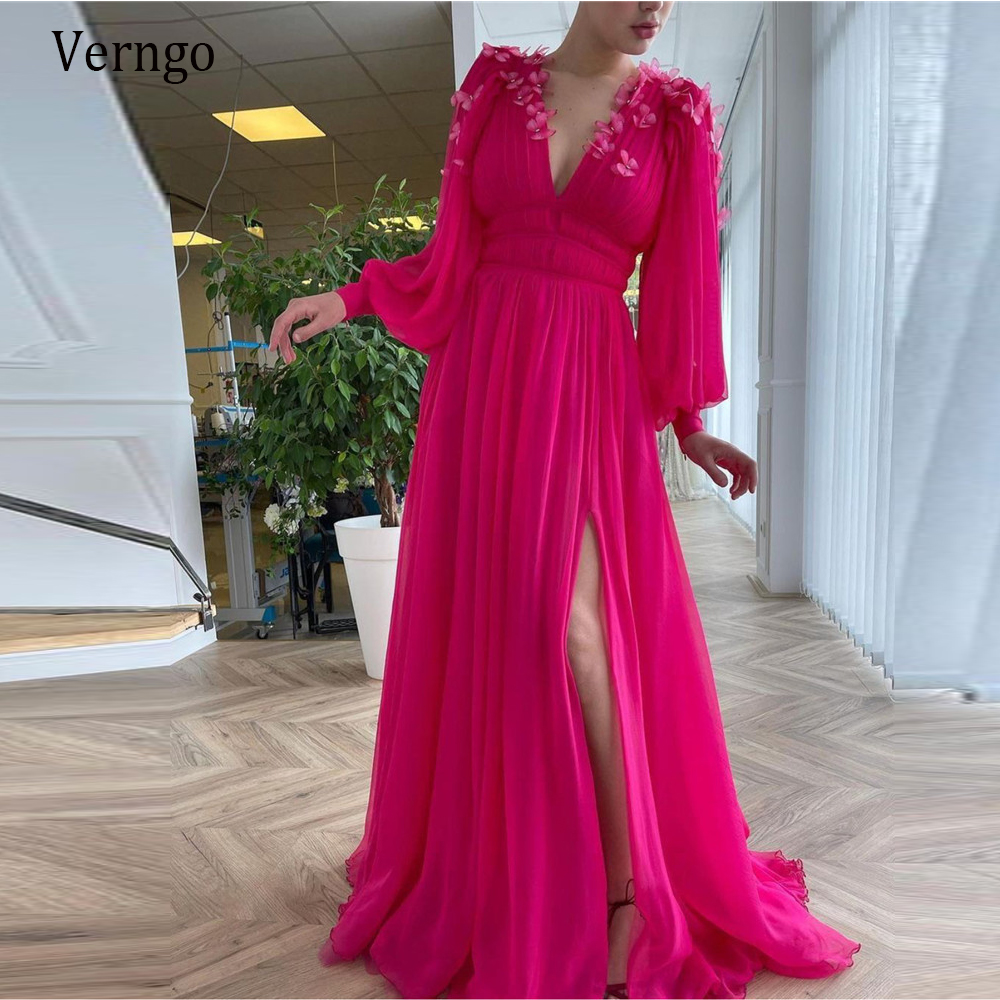 Verngo New 2021 Bright Pink Chiffon Prom Dresses Long Puff Sleeves V Neck Slit A Line Evening Gowns With 3 D Butterfly Flowers
