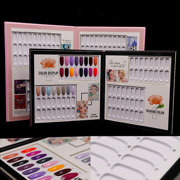 Double-Sided 36/48/60/80/120 Tips Nail Gel Polish Display Card Book Color Board Palette Stand with Nail Tips Salon Show Tools 120pcs false nail art polish palette dot flat manicure nail tips color card uv gel polish display tools 3m double sided stickers