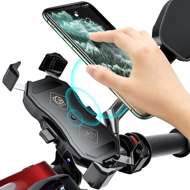 오토바이 핸드폰 홀더, 15W 무선 스마트 충전, QC3.0 와이어 중전, 2 in 1 반자동 스탠드 360도 회전 브래킷