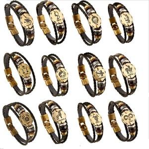 Хит, 12 знаков зодиака, мужской кожаный браслет, винтажный Ретро Браслет, мужские ювелирные изделия, подарки для мужчин, Leo Cancer Aries