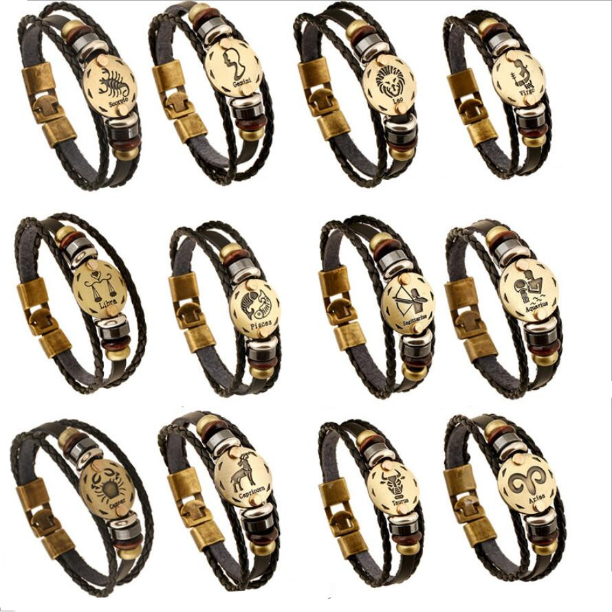 Hot 12 Zodiac Sign Horoscope Men's Leather Bracelet Vintage Retro Charm Wristband Male Jewelry Gifts for Men Leo Cancer Aries