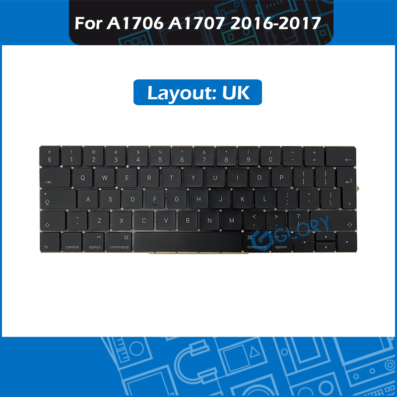 New Laptop Replacement Keyboard UK For Macbook Pro Retina 13 15 Touch Bar A1706 A1707 Late 2016 Mid 2017 image