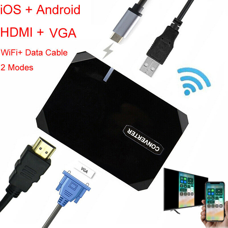 Wireless Wifi Box Cable HDMI VGA Video Adapter For IPhone X Samsung Note10 S10 S9 S8 Huawei Mate20 P20 P30 Pro IOS Android To TV