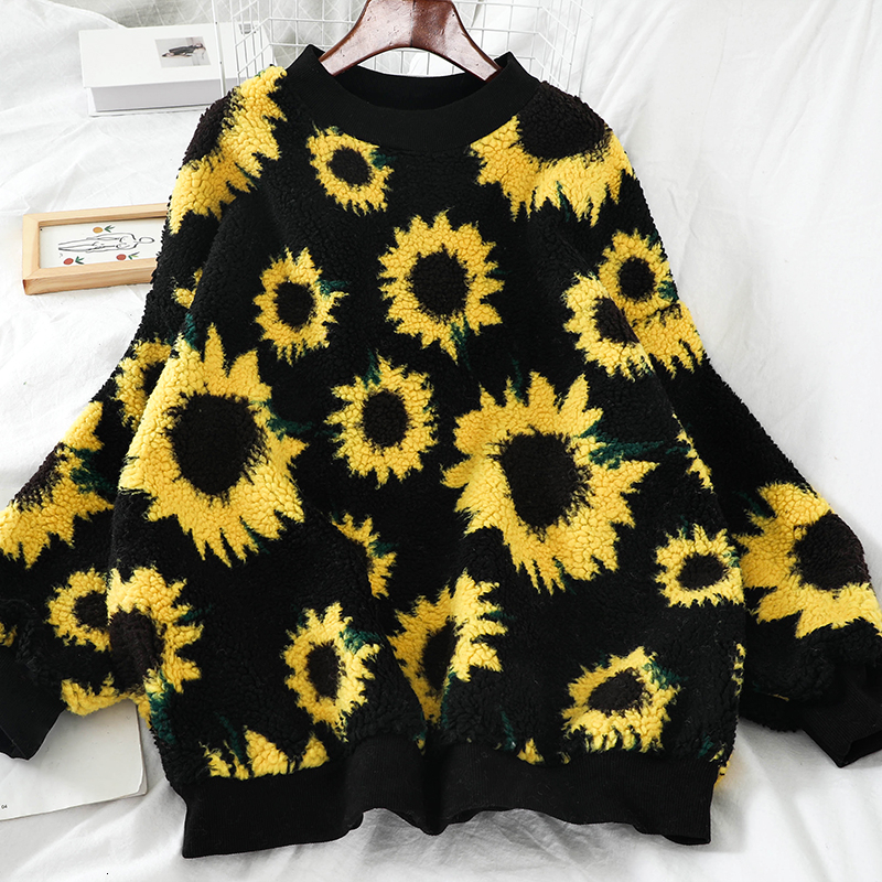Autumn Winter Korean New Loose Sunflower Fashion Knit Sweatshirt Women O Neck Long Sleeve Sweatshirts Loose Female Pullover WY01