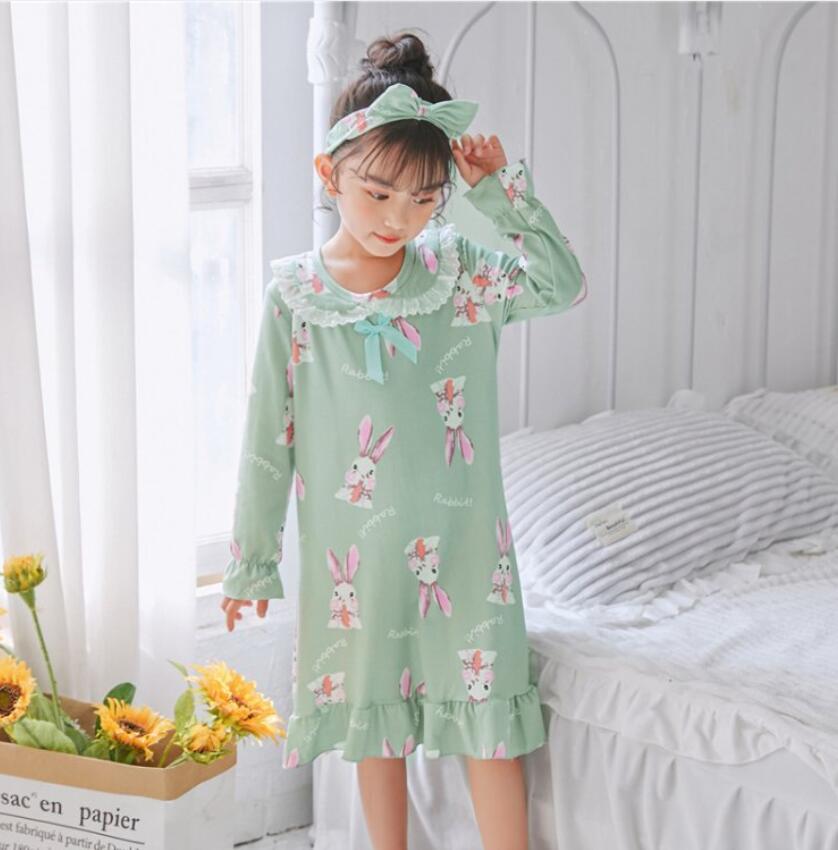 Ночные рубашки для девочек, пижамы, детские Мультяшные пижамы, одежда для сна, платье с длинным рукавом, Детская Хлопковая ночная рубашка, ве...