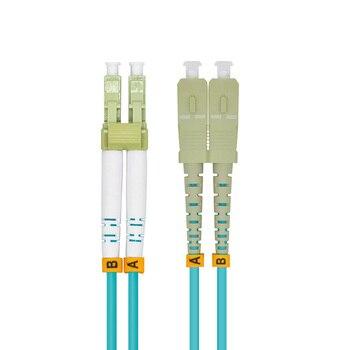 Indoor Armored 40 Meters LC-SC Duplex 10 Gigabit 50/125 Multi-mode Fiber Optical Cable OM3 Aqua 10GB LC to SC Patch Cord Jumper