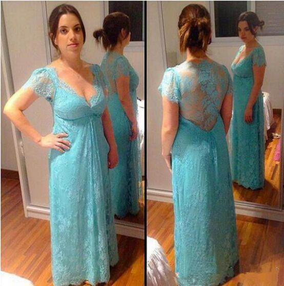 Light Blue Lace Mother Of Bride Dresses Robe De Soiree Short Sleeve Hollow Back Summer Long Evening Prom Formal Weddings Gown