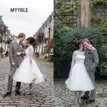 Popular Tea Length Wedding Dress A Line Illusion Bateau Sheer Lace 3/4 Sleeves Puffy Tulle Cheap Short Bridal Gown Bow Sash