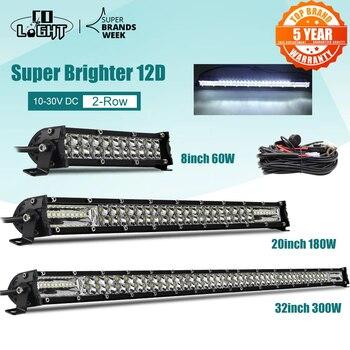 """CO LIGHT Super Slim 12D 8"""" 20"""" 32"""" LED Light Bar Spot Flood 60W 180W 300W Led Bar 4x4 for ATV SUV Offroad LED Work Light 12V 24V"""