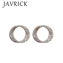 Shiny Rhinestone Hoop Earrings Chic CZ Cubic Zirconia Crystal Pave Post Studs pair of chic rhinestone hoop earrings for women