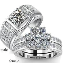 Dubai jewelry Fashion Couple ring genuine White Gold Filled 6.5ct big White AAA Simulated Diamoncial Zircon Claw Ring for Women/men(China)