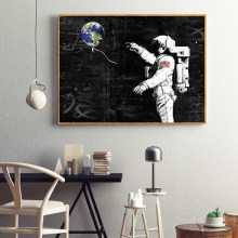 WANGART Astronaut Space Dreaming Stars Planet Oil Painting Canvas Wall Pictures for Living Room Posters and Prints Home Decor
