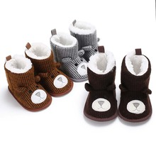 Fashion Baby Shoes Newborn First Walker Super Warm Girls Snow Boots Boys Crib Toddler Infant Cute Cartoon Padded Booties