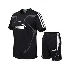 Suit T-Shirts Sportswear-Kit Short-Sleeve Soccer Fitness Men Running Men's 2pcs for Gym