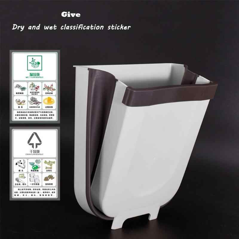 Porta do armário de cozinha pendurado lata de lixo banheiro vaso sanitário dobrável lixo lata de lixo fixado na parede para banheiro