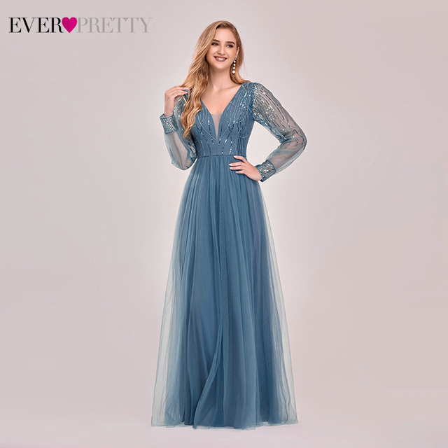 Dusty Blue Bridesmaid Dresses Ever Pretty EP00478DN A-Line V-Neck Sequined Full Sleeve Wedding Guest Dresses Robe De Mariee 2020