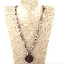 Модные богемные ювелирные украшения в этническом стиле 6 мм натуральные камни и кристалл длинная Узловая металлическая подвеска в форме диска ожерелье s Женское Ожерелье