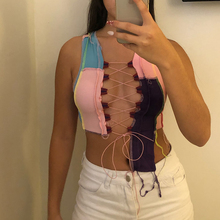 Simenual Women Patchwork Asymmetrical Top 2021 Summer Fashion Lace Up Tie Front Crop Tops Bodycon Hollow Out Sexy Hot Club Tanks
