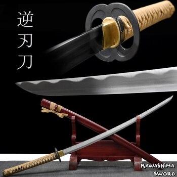 Rhomphaia-lame en acier véritable | Lame japonaise, faite à la main, Sakabato, film Katana, plein Tang