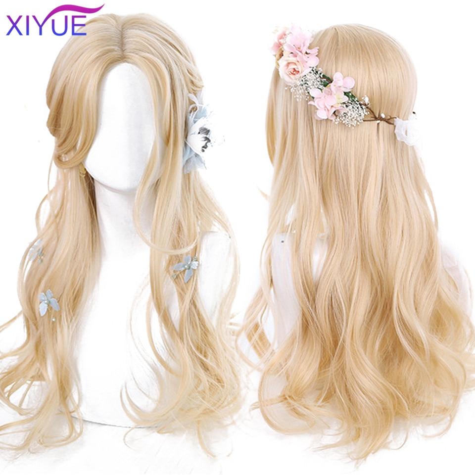 Длинные черные, коричневые, глянцевые, медовые волнистые парики XIYUE с особенностями, косплей, синтетические парики, женские термостойкие па...