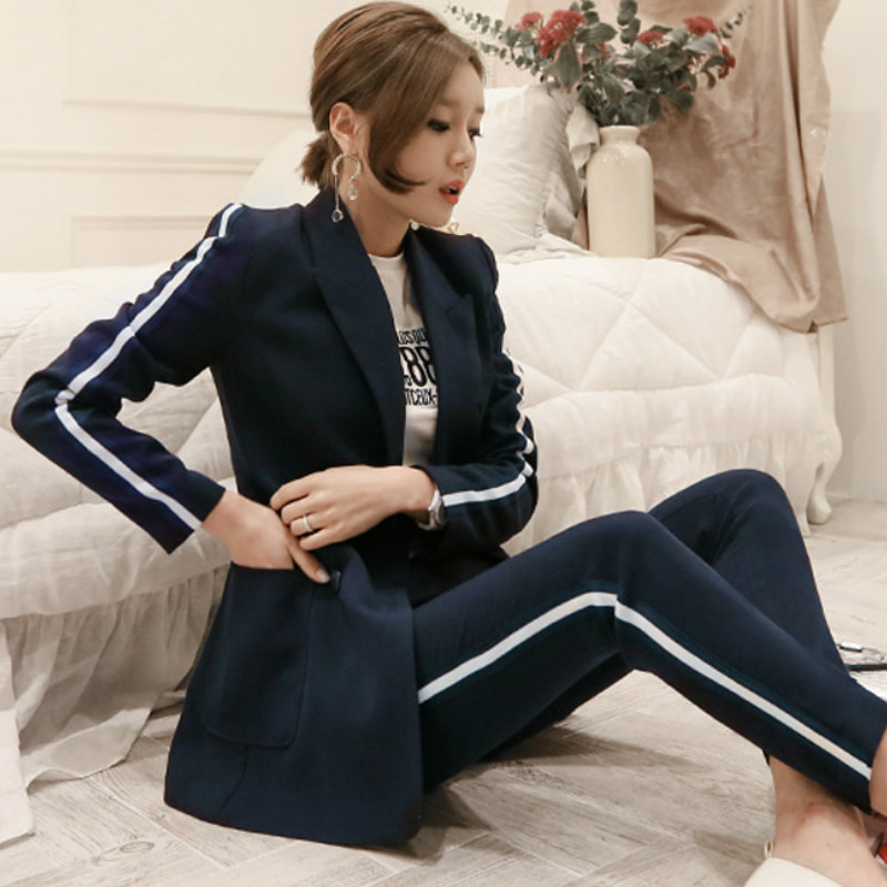 Autumn Long Sleeved Notched Navy Blazer Coat Long Pant Suits Double Breasted Office Cloth Women Two Piece Sets