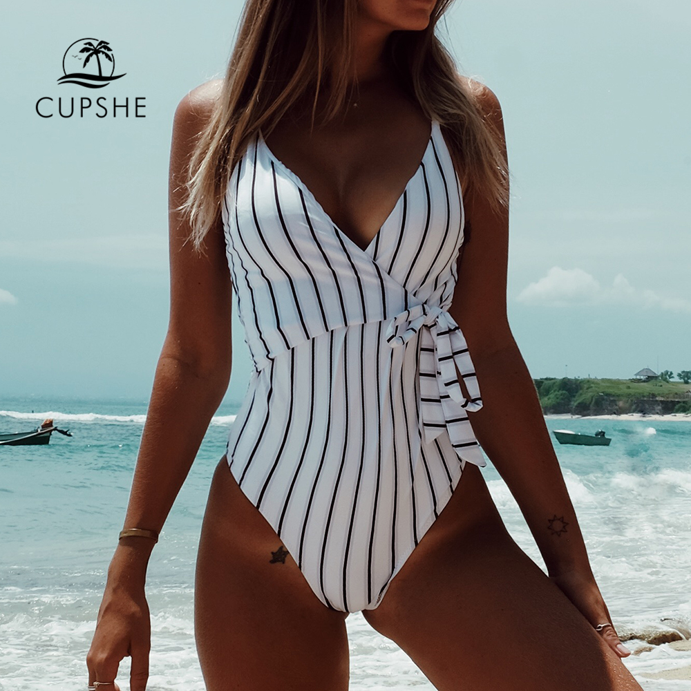 CUPSHE Stay Young Stripe One-piece Swimsuit Women V neck Sexy Backless Tied Bow Monokini 2020 Beach Bathing Suit Swimwear