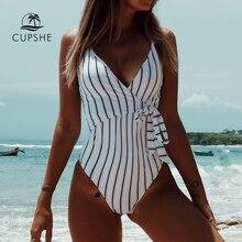 CUPSHE להישאר צעיר פס מקשה אחת בגד ים נשים V צוואר סקסי ללא משענת קשורה קשת Monokini 2020 חוף בגד ים בגדי ים