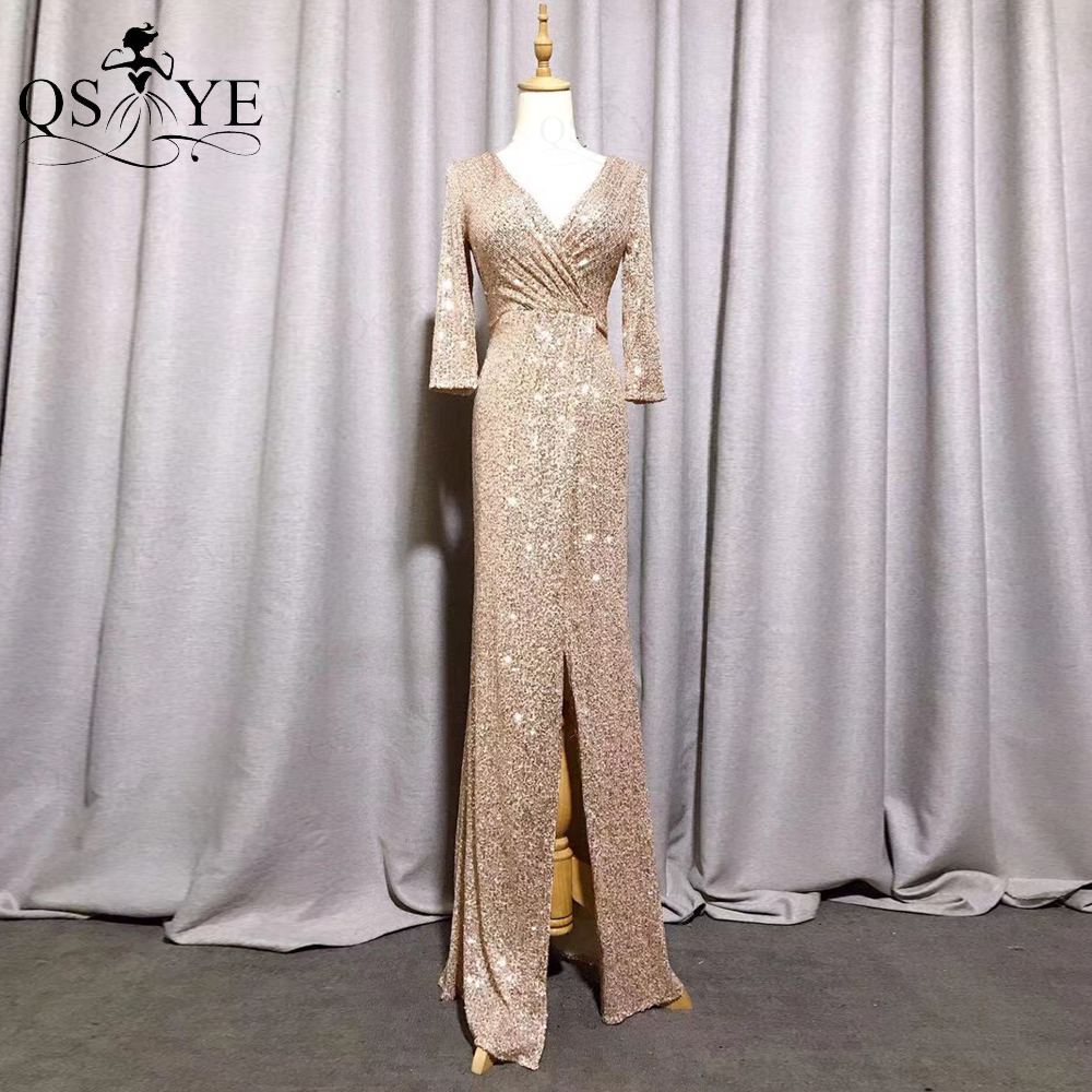 QSYYE Sparkle Gold Evening Dress Fit Mermaid Long Sleeves Evening Gown Glitter...