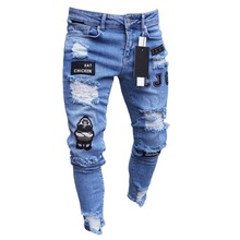 цена на jeans Men Stretchy Ripped Jeans Skinny Biker Embroidery Print Jeans Destroyed Hole Taped Slim Fit Denim Scratched Jean Popular