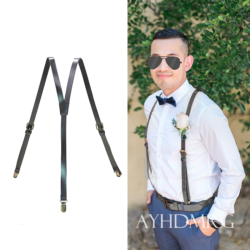 British Style 3 Clips Mens Suspenders Vintage Adjustable Cowhide Cowboy Genuine Leather Suspender Bronze Strap Pant Braces