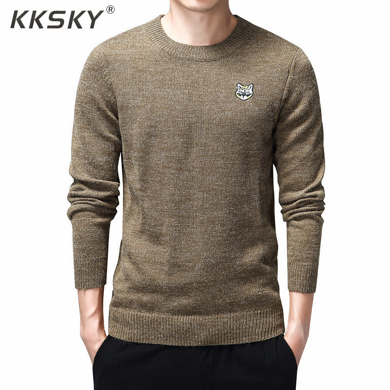 Embroidery Cat Sweater Men Warm O-neck Pullovers Homme Kintting Long Sleeve Sweaters Dress And Pullover 3XL Knitwear Pull Tops