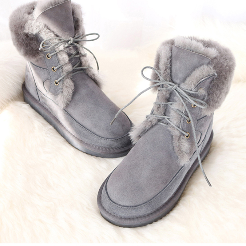 2019 New Australia Genuine Sheepskin Leather Snow Boots Women Wool Boots Suede Sheep Fur Flat Anti-skid Warm Winter Shoes