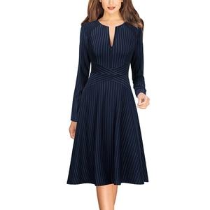 Image 2 - Женское осеннее платье трапеция Vfemage с длинным рукавом и передними карманами на молнии, повседневное Деловое платье для офиса и вечеринок, трапециевидного силуэта, 671C