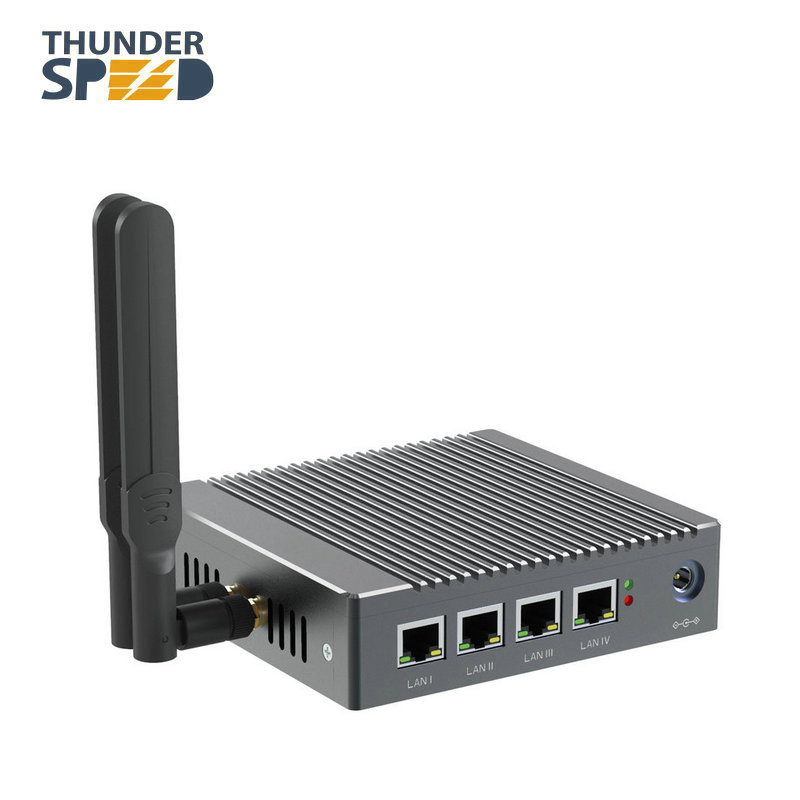 DHL Free Shipping! New Arrival Fanless Barebone 4 LAN Pfsense Quad Core Firewall Mini PC