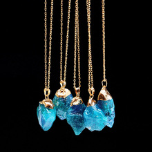 New Initial Necklace Pendant for Women 2 Colors Natural Irregular Rough Personality Blue Crystal Chain Party Jewelry