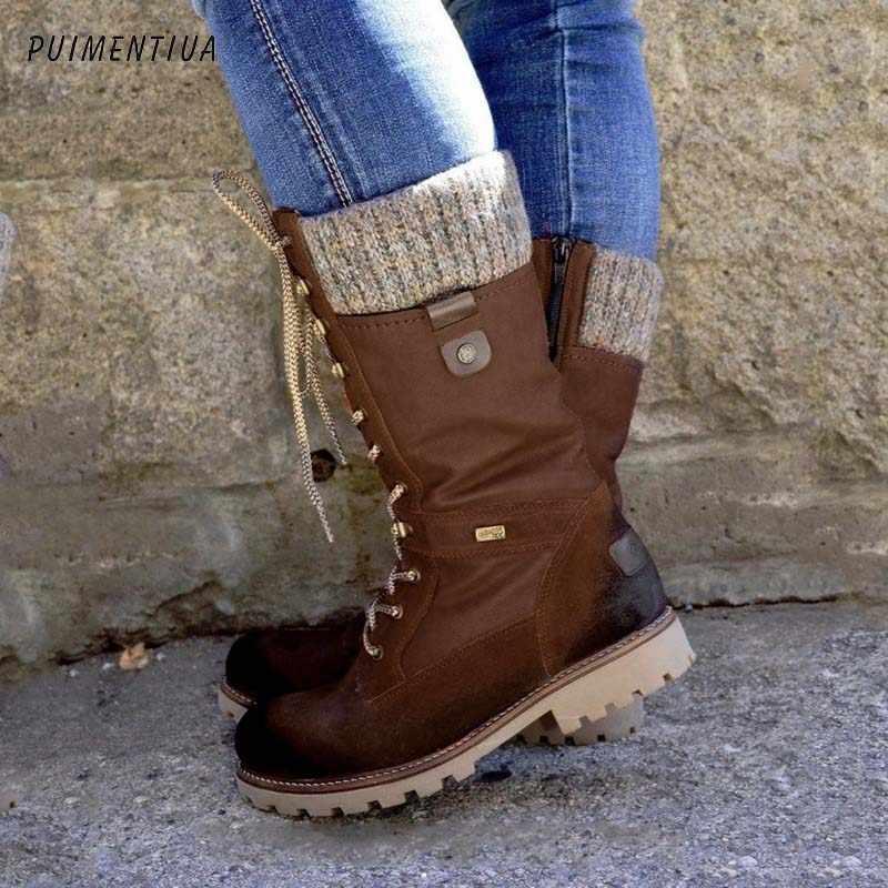 Puimentiua kışlık botlar bayan botları temel orta buzağı çizmeler yuvarlak ayak Zip platformu dekor kadın ayakkabısı sıcak Lace Up Boots ayakkabı