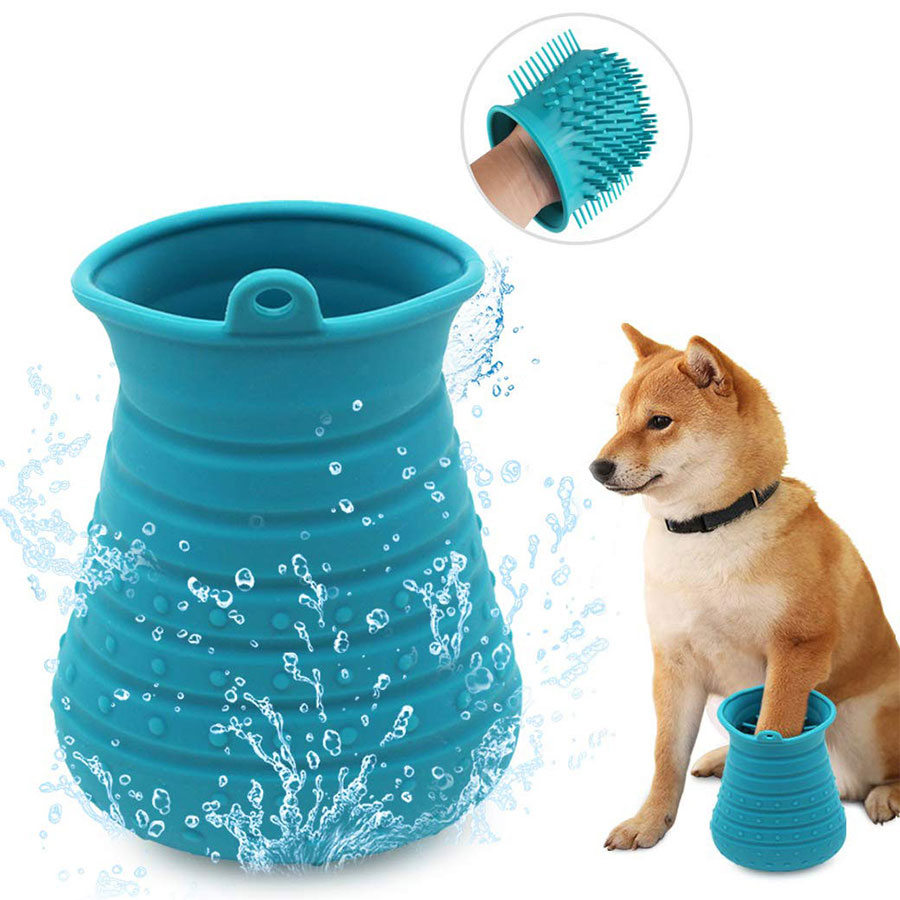 Soft Silicone Dog Paw Washer Portable Comfortable Dog Paw Cleaner Cup Dog Cats Grooming Brush Glove  Pet Hair Cleaning Brush