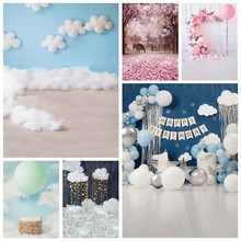 Laeacco Baby Dusche Neugeborenen Geburtstag Fotografie Kulissen Baumwolle Wolken Ballons Kuchen Blumen Kinder Porträt Foto Hintergründe