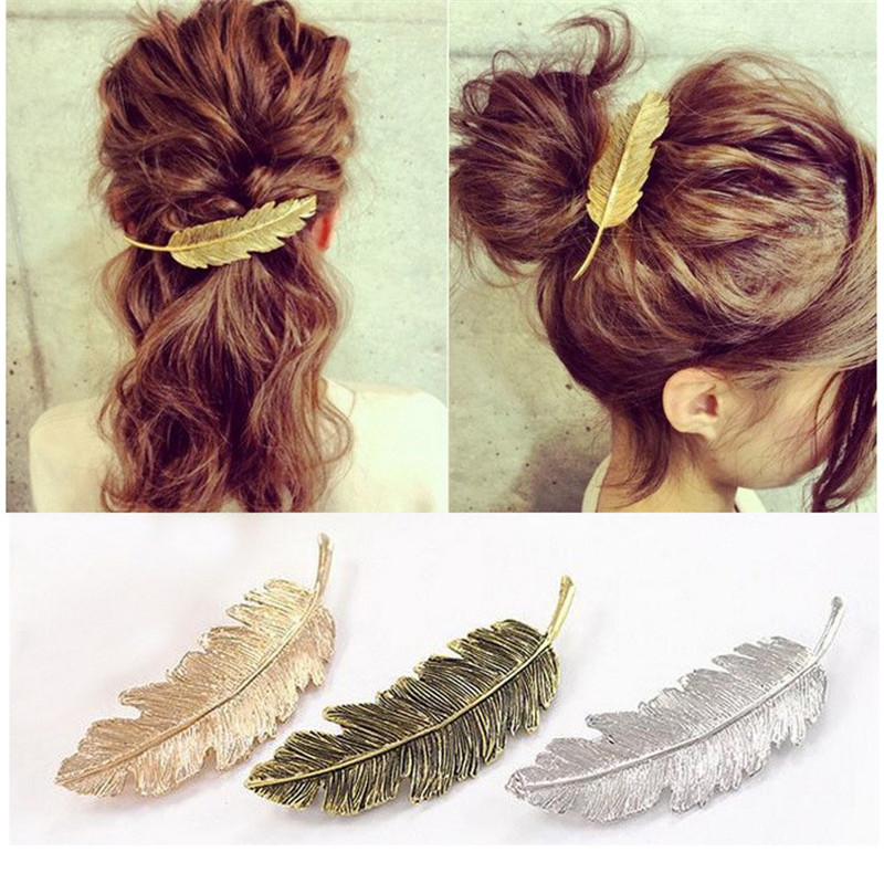 1PCS Leaf Feather Hair Clip Barrette Bobby Pins Women Hair Accessories Fashion Sweet Graceful Hairgrip 3 Kinds Hairpins