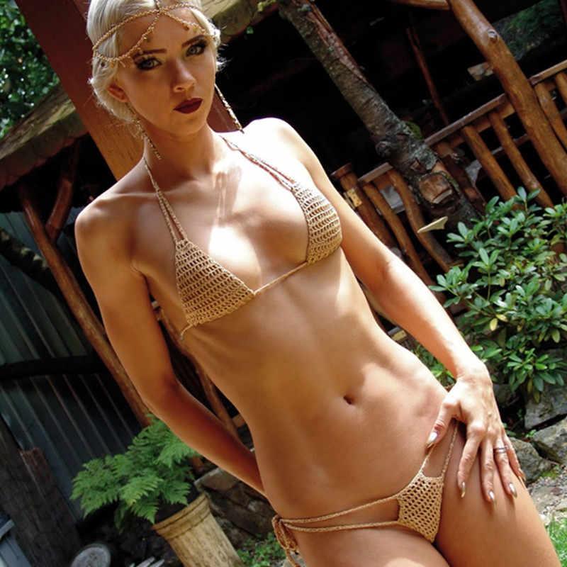 Ensemble Bikini fait main pour femme maillot de bain Micro Crochet extrême Mini ensemble Bikini Sexy bain de soleil plage Spa