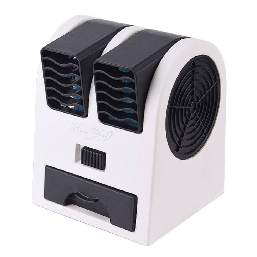 2 Ports Mini Fan Adjustable Angles Dual Air Outlet Air Conditioning Fan Cooling For Home Office Dormitory