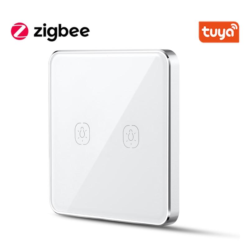 Tuya ZigBee Smart Battery Switch Wire Free 1 2 3 Gangs Touch Switch Sticker Works With zigbee2mqtt Home Assistant