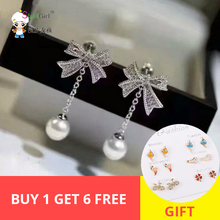 Ladies zircone ribbon with shell pearl  925 sterling silver wedding long earrings for women fashion trendy Top sale style