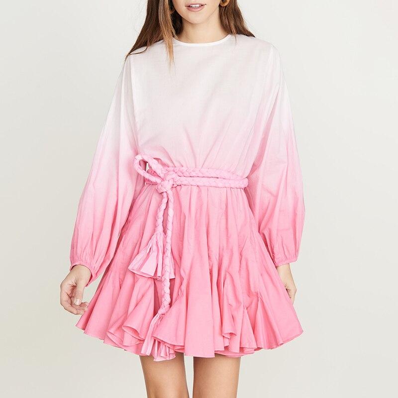 Women Gradient Dress Lantern Sleeve High Waist Belted Mini Summer Dress